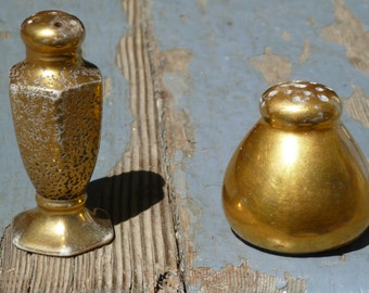 Golden salt and pepper shakers