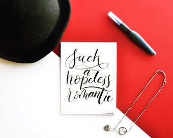 Hand lettered quote on canvas | Hopeless Romantic