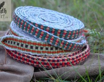 Decorative hand-woven belt, wool, acrylic, cotton...