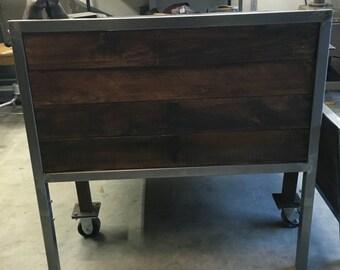 Rustic Industrial furniture.Steel and reclaimed wood.