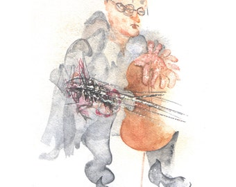 Cello Player - Limited edition print in mount, on archive quality paper, with free UK shipping (musician, watercolour, musical instrument)