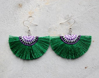 Small Dark Green Half Moon Hmong Tassel Earrings