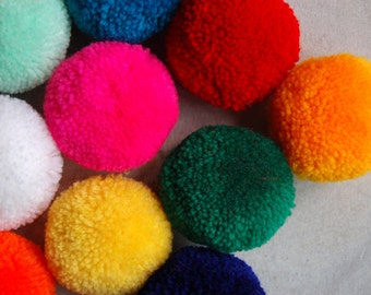 50 PCS x Large Pom Poms Handmade Craft Supply in Mixed Colors