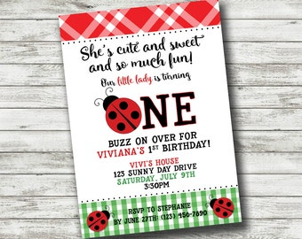 Ladybug Picnic Summer Gingham Checkered Bug Theme First 1st Birthday Invitation