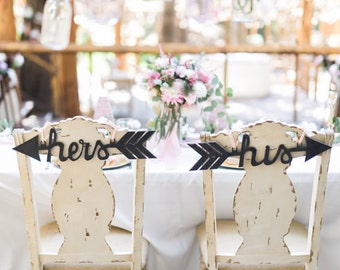 Custom Wedding Chair Signs Decoration: his and hers arrows- Wedding Decor