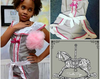 Toddler and Junior 2 piece ruffle collar and wrap over shorts set