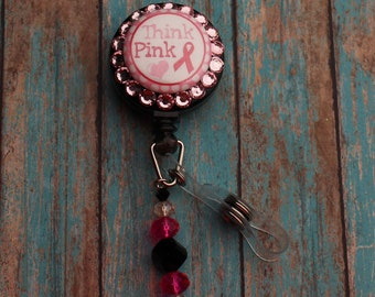 "Sparkly ""Think Pink"" Retractable ID Badge Reel. Breast Cancer Awareness."