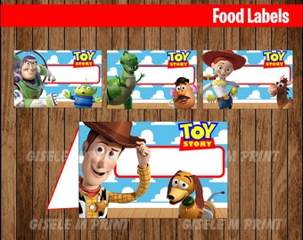 Toy Story Food Labels, Printable Toy Story food tent cards, Toy Story party food cards instant download