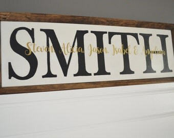 Custom Personalized Family Last Name Surname Wood Sign