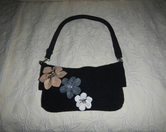One of a Kind Felted Purse with Tan/Gray/Cream Flowers