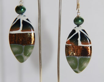 Navy, White and Green Polymer Clay Earrings.