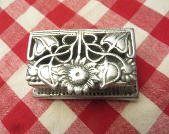 Vintage metal trinket box with flower motif  w/ free ship