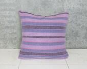 Purple Striped Indian Textile Pillow Cover / Lavender Blue Organic Natural Hand Spun Textile India Decor Asia Ethnic Throw Cushion Indigo