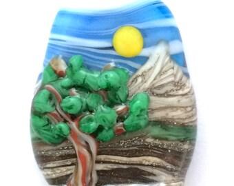 Meadow Tree  - Handmade Lampwork Glass Natural Ocean Mountain Sculptural Landscape 3D Focal Bead