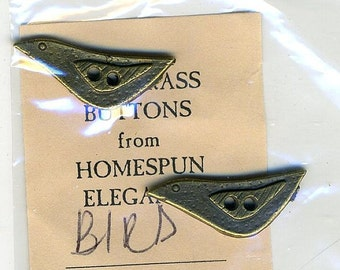 Olde Brass Button Charms - Bird - by Homespun Elegance 2 Per Package