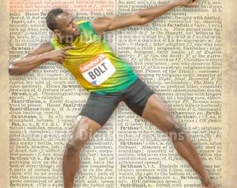 Usain Bolt Printable Typography Text Art Word Art Motivational Poster, USA Track 5x7 8x10 16x12 INSTANT DOWNLOAD