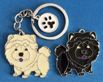Cinnamon and Black Chow Chow Dog Keychain Charm Large
