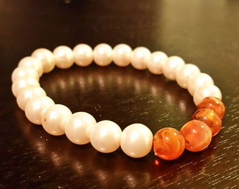Pearl and Amber Bracelet