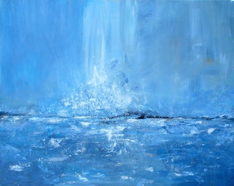 ORIGINAL PAINTING, Abstract Acrylic Art, Water Painting, Blue Painting, Sea Painting, Modern Art, Home Decor, 16x20, hand painted by Olga