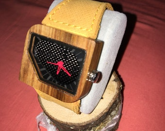 Wooden watch with genuine leather