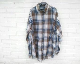 GANT CHECK SHIRT Unisex//pictures in brown and blue tones//gift for men//gift for women//Sale