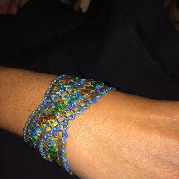 Number 26 Double wrap hand woven Cleopatra style bracelet. Maine Artist