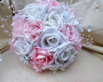 Baby pink and white foam rose bridal brides bridesmaids bouquet artificial foam roses with diamantes pearls and crystals