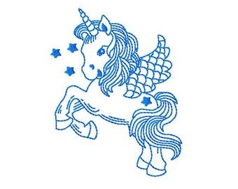 Bluework Unicorn Machine Embroidery Design, 4x4 Hoop, 9 Formats, Blue work Unicorn Embroidery
