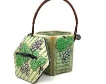 Porcelain Hexagonal Grape Themed Biscuit Barrel, Cookie Jar, Biscuit Jar, Cracker Basket, w/ lid and Rattan handle