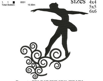 Ballet Dancer embroidery machine . embroidery pattern . embroidery designs 3 sizes  instant download