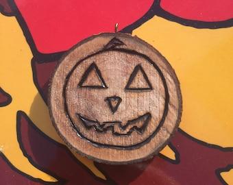 Jack O'lantern/Spider Wed halloween pyrograph pendant