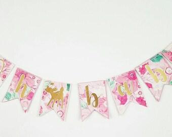Oh baby banner,  floral print babyshower banner, babyshower banner