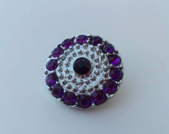 Purple snap. Rhinestone snap button. 18mm snap buttons. Purple flower snap