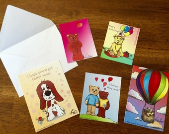 Lovely Greeting Cards – Version 1 – Set of 5