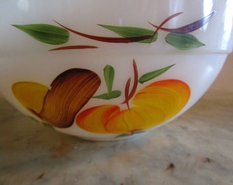 Large Fire-King Fruits Mixing Bowl, Gay Fad Decorator, 1950s/60s, Anchor Hocking, Wide Band