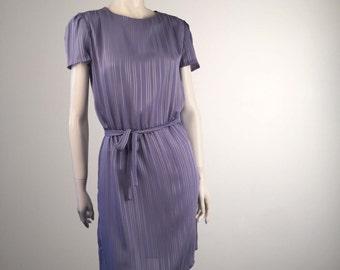 Vintage Lavender ORITE Short-Sleeved Shirtdress with Belt-Tie