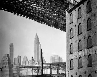 Brooklyn Bridge, Water and Dock St Brooklyn. Vintage Photography, New York City, Black and White, Vintage Prints, Fine Art Prints - New York