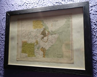 Old East Africa map (1896) - original vintage of the East in 1896 color map (21cm x 29, 7cm)-sold box