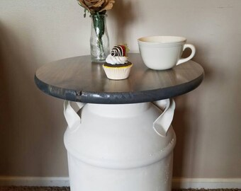CUSTOM Vintage Milk Can End Table, Authentic, Rustic, Repurposed furniture, Accent table, side table, country decor