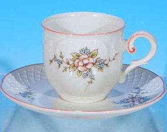 Discontinued VILLEROY & BOCH Porcelain Demitasse Teacup / Tea Cup and Saucer Set Rosette