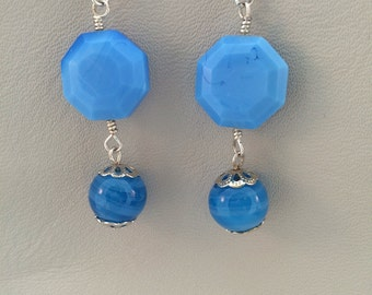 Blue octagon glass bead with swirled blue glass drop earrings