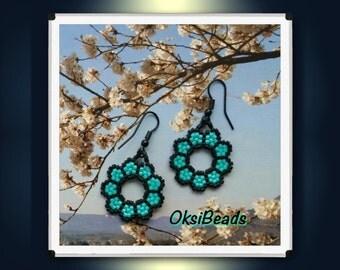 Pearl Earrings, delica beads