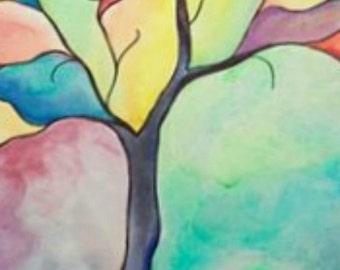 ORIGINAL, watercolor tree, painting, tree art