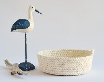 Small rope basket, white, storage basket, rope bowl, cotton, storage, gift idea, housewarming, jewellery bowl, key holder, organiser