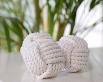 Monkey fist nautical knot, decorative rope ball, nautical rope knot, name place card holder, bowl filler, natural white, cotton rope