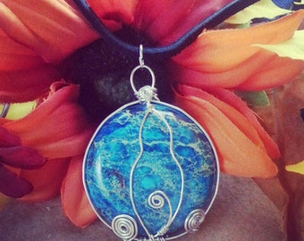Sterling silver wire wrapped Goddess Earth Pendant