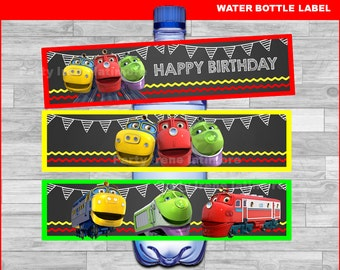 Chuggington water bottle labels Instant download, Chuggington Chalkboard water labels, Chuggington party water labels
