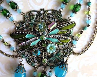 Art Nouveau Inspired Dragonfly Assemblage Statement Necklace Turquoise and Olive Green OOAK