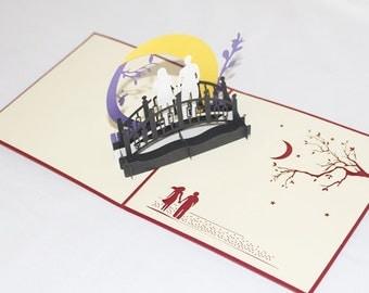 Couple under Moon, Pop Up Card, Birthday Card, Greeting Card, Birthday Pop Up Card, Christmas Card, Get Well Card, Anniversary Card, 198