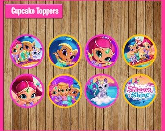 Shimmer and Shine Toppers instant download, Printable Shimmer and Shine party cupcakes Toppers, Shimmer and Shine cupcakes toppers